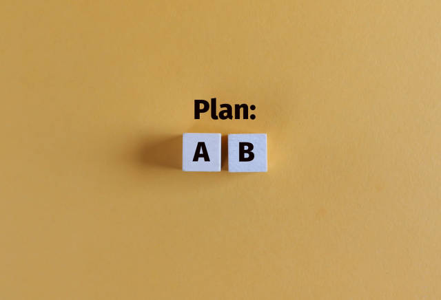 Conceptual image of business planning and different options