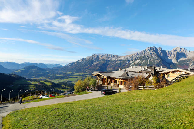 Brenneralm SkiWelt with panoramic view of Wilder Kaiser and Inn Valley