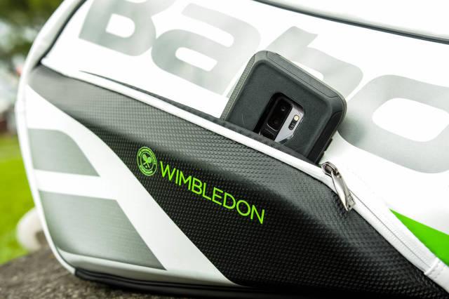 Phone in a tennis bag phone pocket
