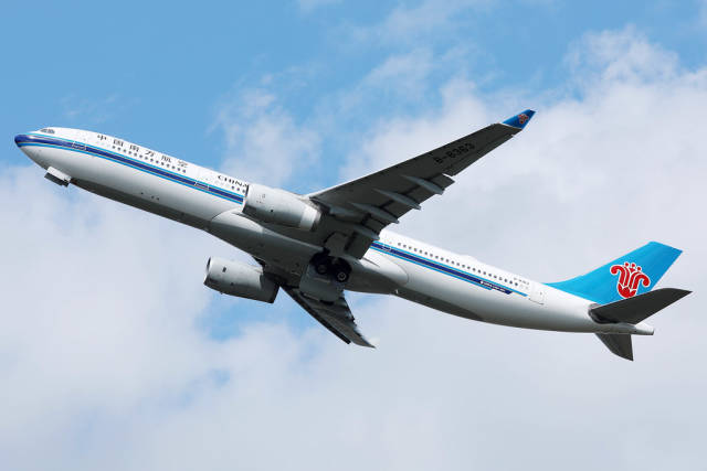 China Southern plane A330 up in the sky