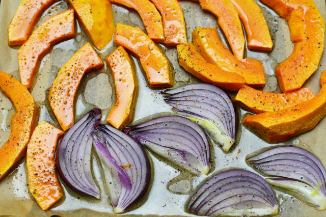 Pumpkin and red onion