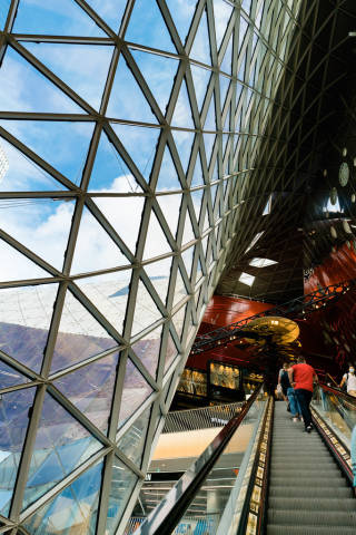 Inside of the super modern parametric shopping mall My Zeil in Frankfurt, Germany