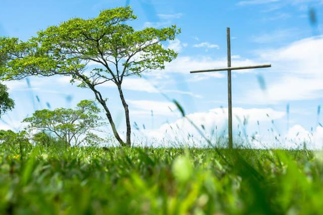 Wooden cross standing on a large grass field
