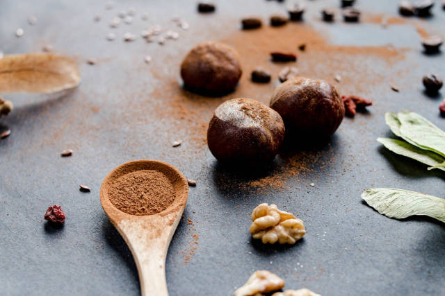 Autumn concept- cinnamon,walnuts and chestnuts