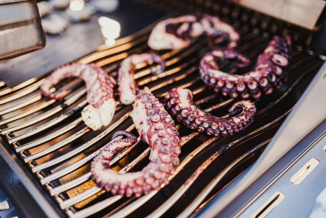 Close Up Of Grilled Octopus Legs On The Grill