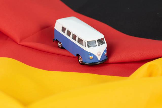 Campervan with German flag