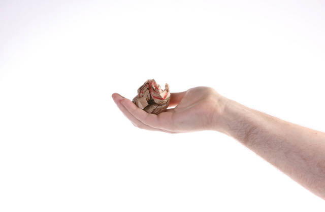 Hand holding crumpled paper on white background