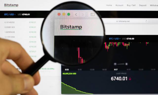 Bitstamp-Logo am PC-Monitor, durch eine Lupe fotografiert