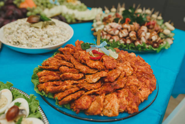 Chicken Meat Dish With Tomatoe Sauce On Table