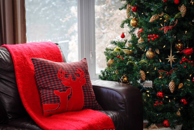 Christmas Decor with Deer Pillow and Tree