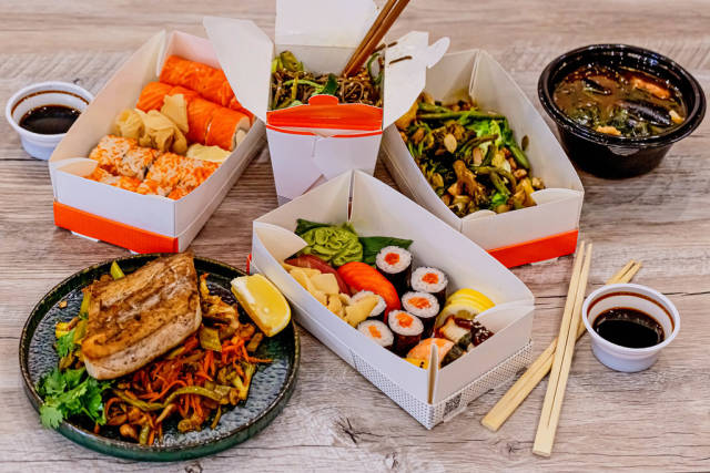 Fresh Asian food on a wooden table