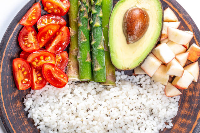 Close up of rice with vegetables and Chia seeds