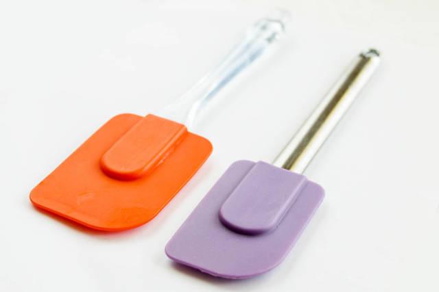 Colorful silicone spatulas , close up