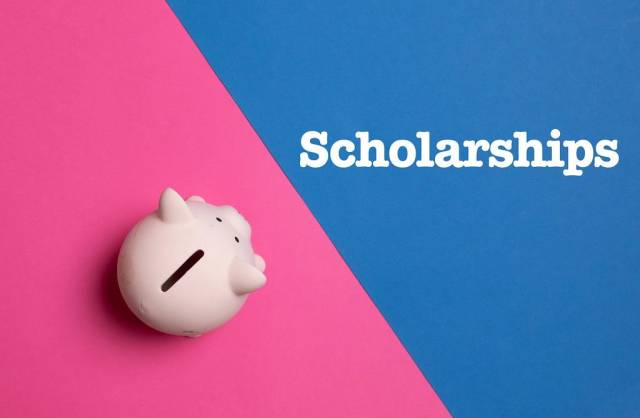 Piggy bank with Scholarships text
