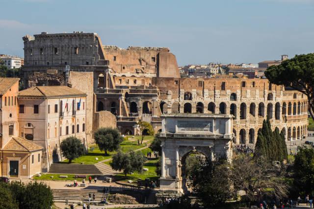 Colosseum and Arco di Tito from the Roman Forum