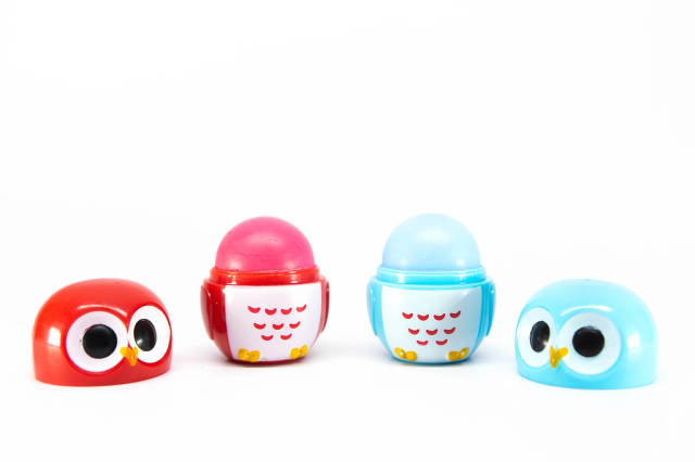 Lip balm in small owl shapes