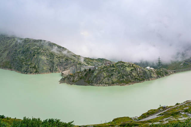 Overlook of Grimsel Pass Dam water reserve