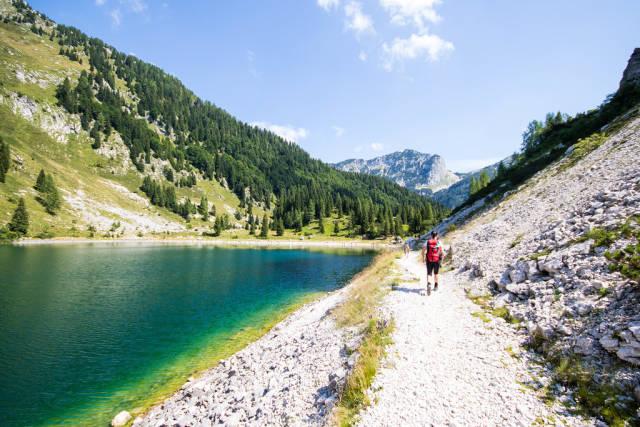 Woman walking near Krn lake