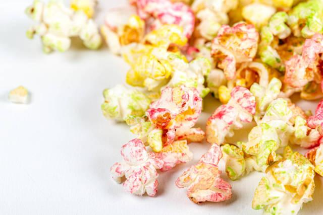 Multi-colored fruit popcorn, close up