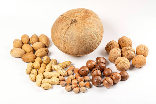 Coconut, macadamia, pecan, walnuts, peanuts and hazelnuts on white