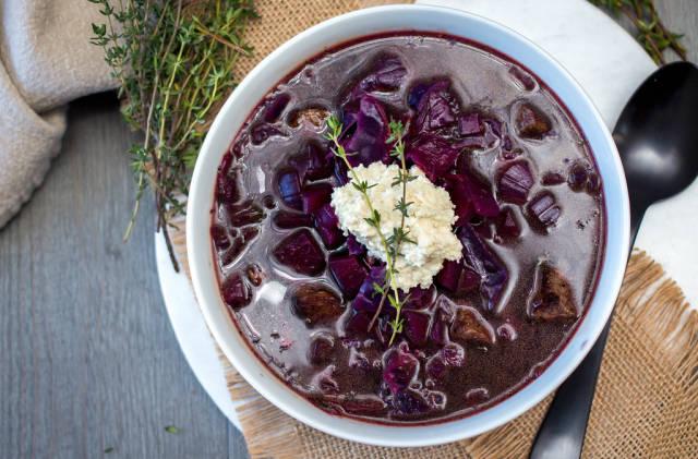 Borscht Soup In a White Bowl Top View