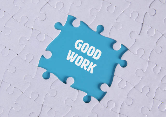 Missing puzzle pieces with Good Work text