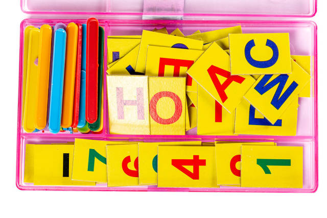 Set of letters, numbers and sticks for math in first grade