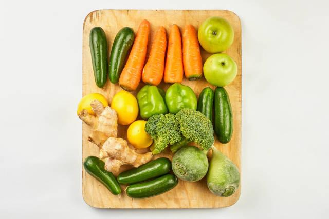 Organic vegetables and fruits for preparing healthy vegetarian food