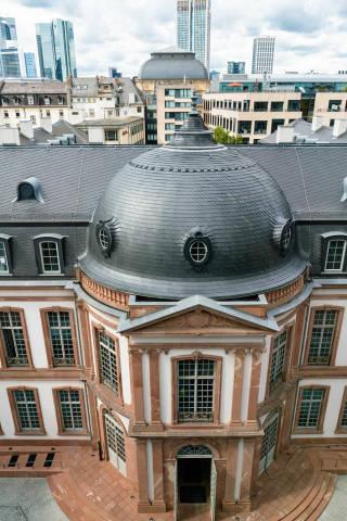 Bird eye view of Palais Thurn und Taxis historic building in Frankfurt built in 1739