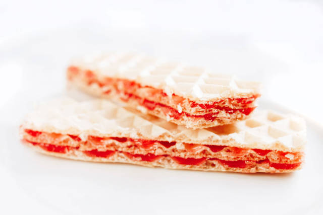 Waffles with turkish delight on white background. Dessert.
