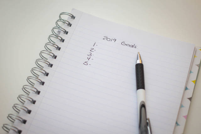 2019 Goals on a Notepad