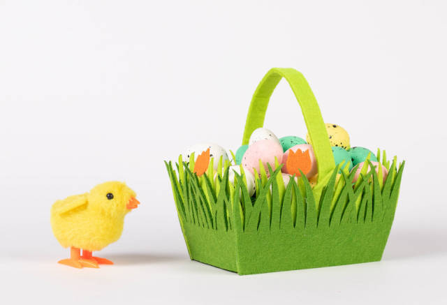 Little chicken with basket full of Easter eggs