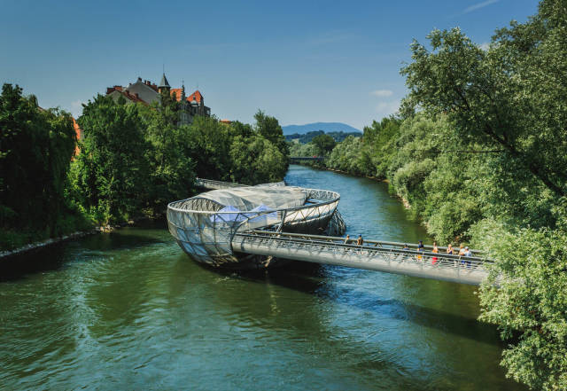 Mur Island bridge in Graz