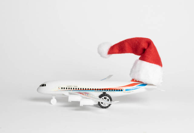 Christmas hat on a plane