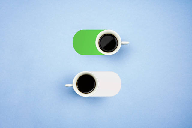 Turn on and off buttons made with two coffee cups