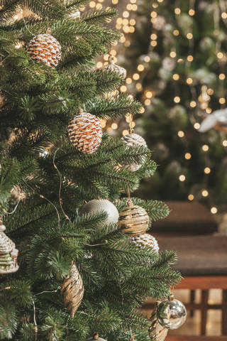 Closeup of a christmas tree decorations and lights