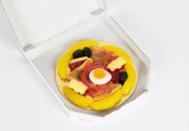 Pizza aus Fruchtgummi in kleiner Box