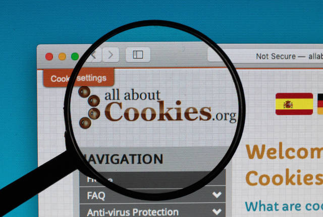 All about Cookies website under magnifying glass