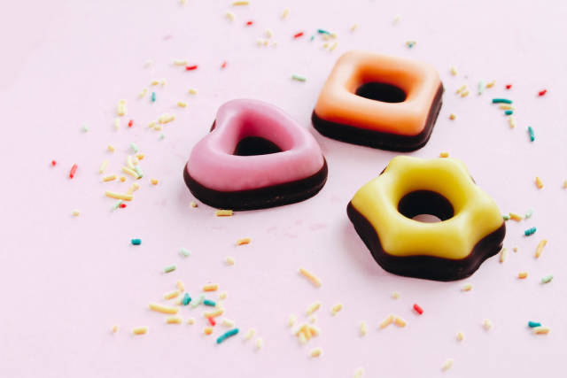 Colorful marzipan cookies with  sprinckles. Festive concept