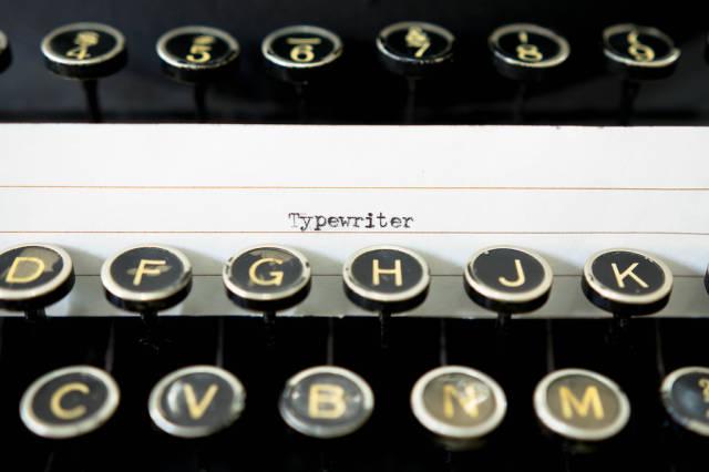 TYPEWRITER lable on typewriter keys