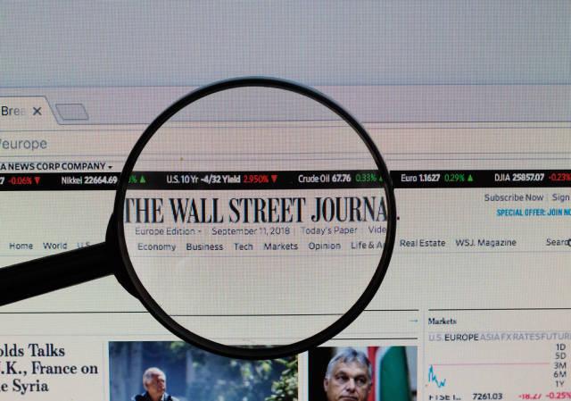 The Wall Street Journal Logo am PC-Monitor, durch eine Lupe fotografiert