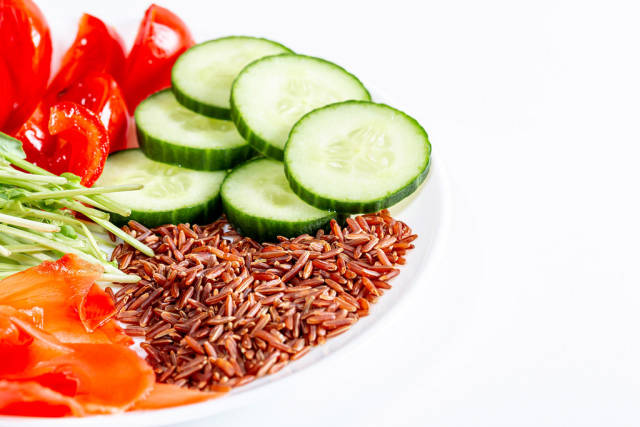 Brown rice with vegetables and micro greenery