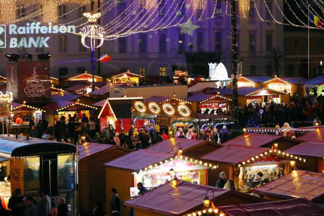 Sibiu Christmas fair seen from above