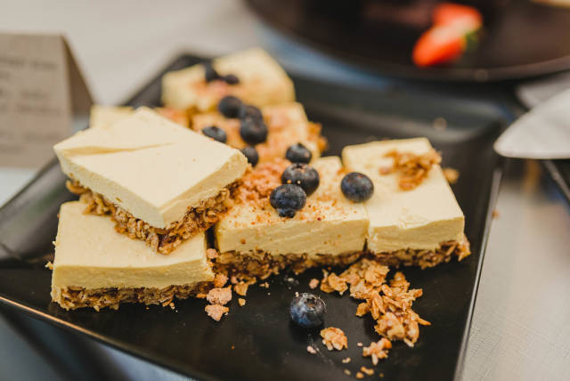 Cheese Cake With Nuts And Blueberries