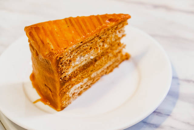 Vibrant color of a caramel cake slice
