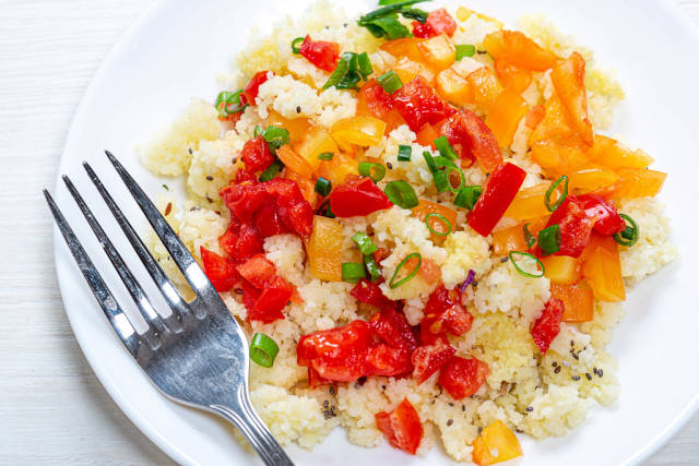 Couscous porridge with vegetables and Chia seeds