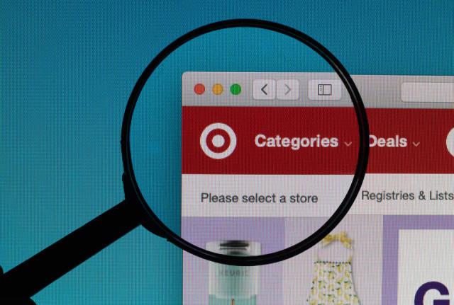 Target logo under magnifying glass