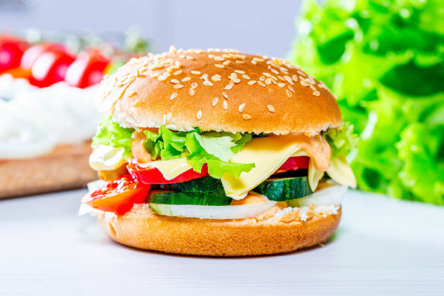 Homemade hamburger with lettuce and cheese