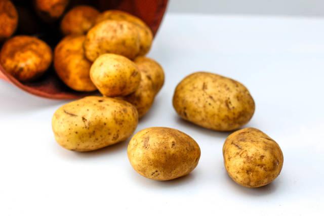 Mehrere Kartoffeln vor weißem Hintergrund