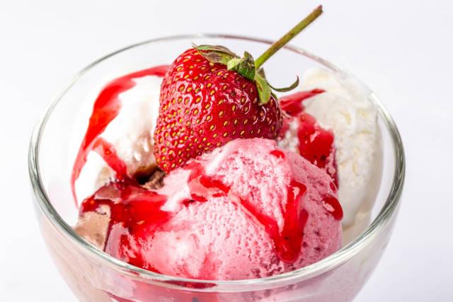 Balls of multi-colored ice cream close-up